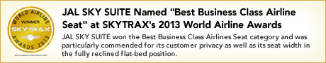 JAL SKY SUITE Named Best Business Class Airline Seat at SKYTRAX's 2013 World Airline Awards