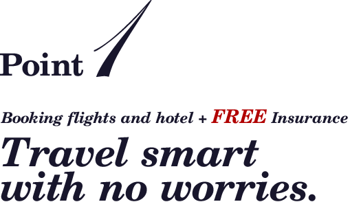 Point1 booking flights and hotel + FREE Insurance Travel smart with no worries.