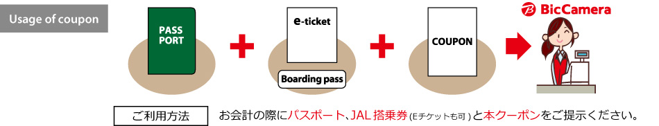Usage of coupon: PASSPORT + e-ticket or Boarding pass + COUPON ⇒ BicCamera ご利用方法:お会計の際にパスポート、JAL搭乗券(Eチケットも可)と本クーポンをご提示ください。