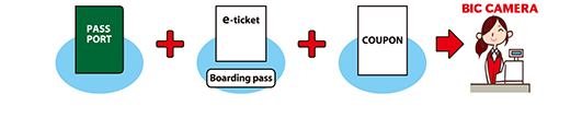 PASS PORT + e-ticket + COUPON → BIC CAMERA