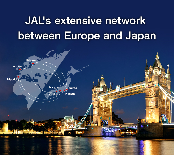JAL's extensive network between Europe and Japan